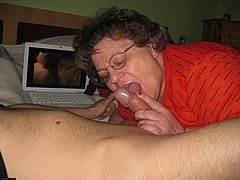 Horny grandma with big boobs masturbating